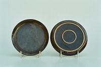 Plate, 1920s, from above : with a small rim, from below : with two rings ( for a good stand ), diameter : 18 cm,  glaze : cocoa-brown on white stoneware