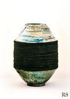 Vase  assembled      height  :  33cm  Raku-ceramics